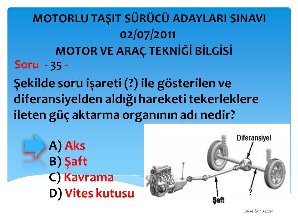 İBRAHİM YALÇIN Şekilde soru işareti (?) ile gösterilen ve diferansiyelden aldığı hareketi tekerleklere ileten güç aktarma organının adı nedir? Soru -