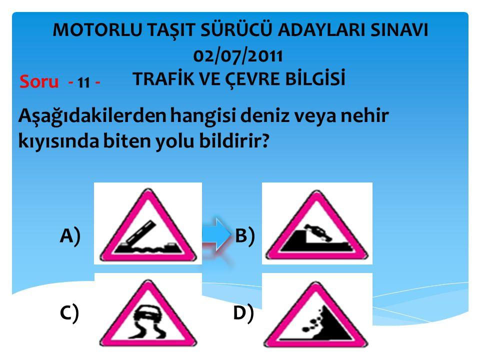 Aşağıdakilerden hangisi deniz veya nehir kıyısında biten yolu bildirir? Soru - 11 - A) B) C) D) TRAFİK VE ÇEVRE BİLGİSİ MOTORLU TAŞIT SÜRÜCÜ ADAYLARI