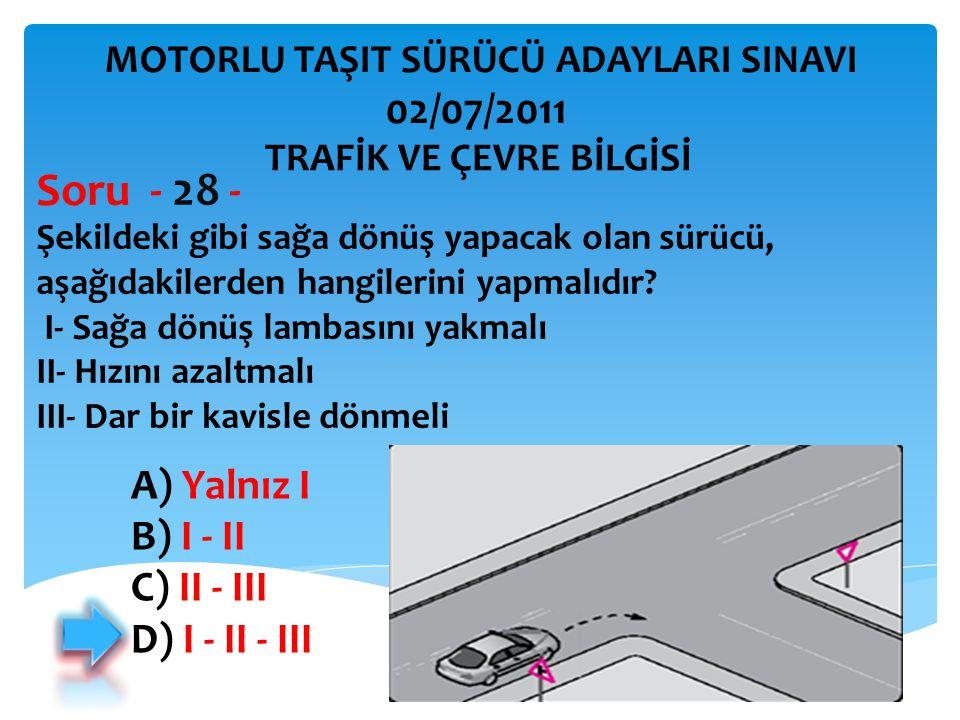 İBRAHİM YALÇIN Şekildeki gibi sağa dönüş yapacak olan sürücü, aşağıdakilerden hangilerini yapmalıdır? I- Sağa dönüş lambasını yakmalı II- Hızını azalt