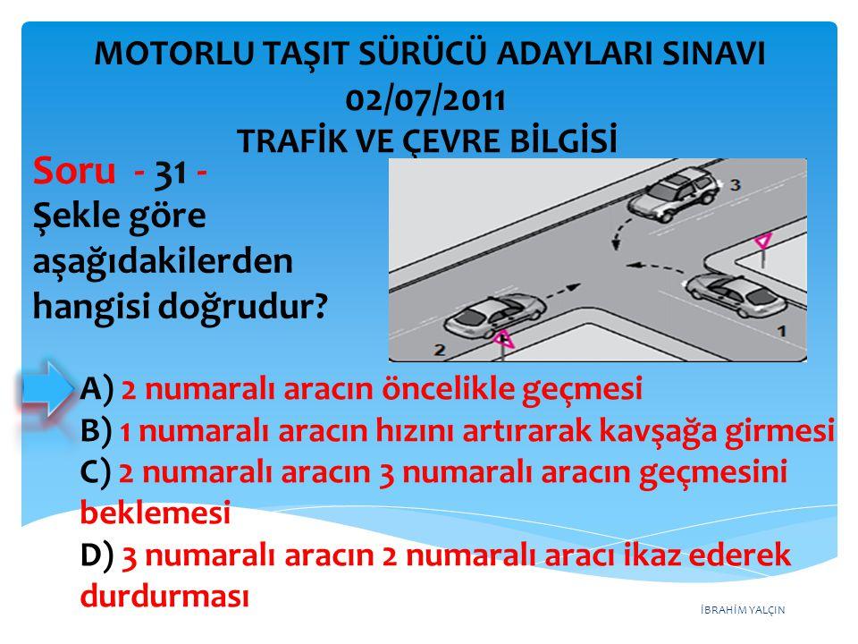 İBRAHİM YALÇIN Şekle göre aşağıdakilerden hangisi doğrudur? Soru - 31 - A) 2 numaralı aracın öncelikle geçmesi B) 1 numaralı aracın hızını artırarak k