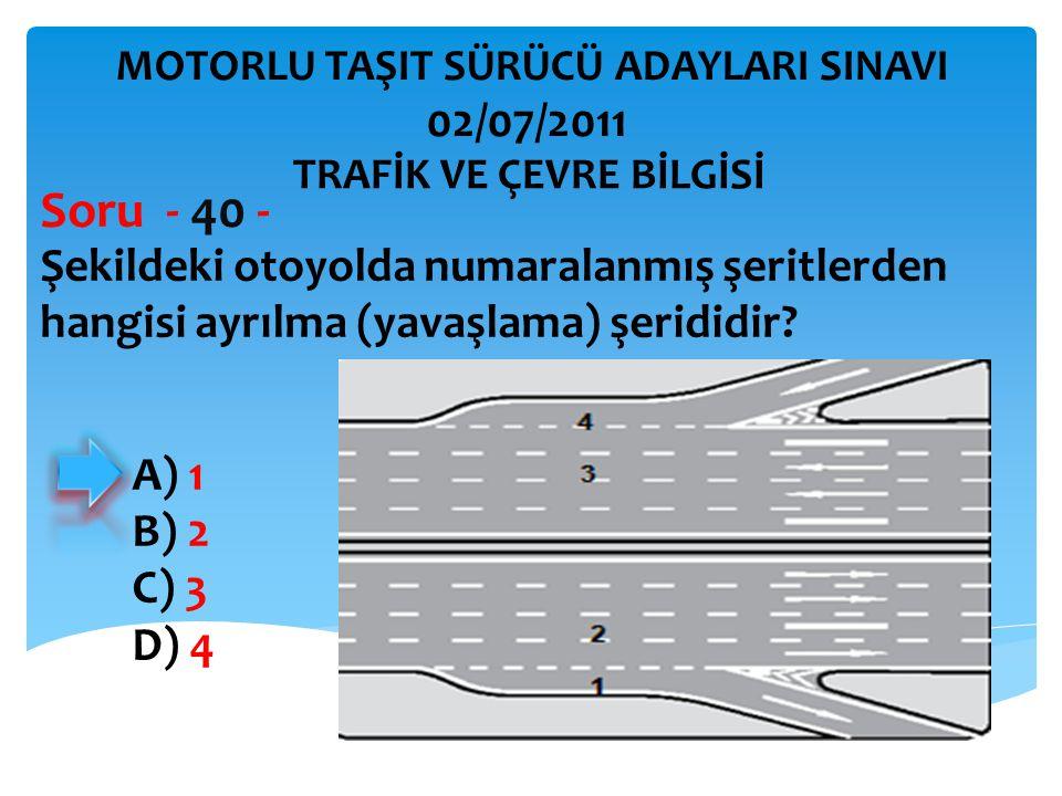 Şekildeki otoyolda numaralanmış şeritlerden hangisi ayrılma (yavaşlama) şerididir? Soru - 40 - A) 1 B) 2 C) 3 D) 4 TRAFİK VE ÇEVRE BİLGİSİ MOTORLU TAŞ