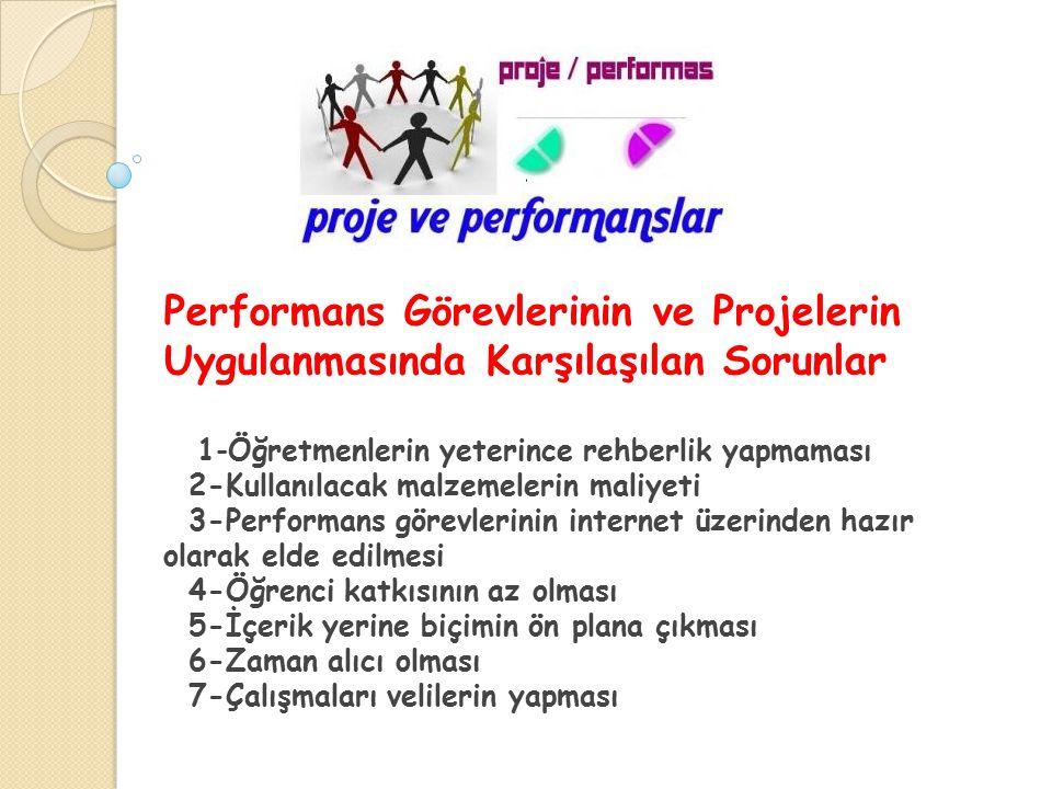 Performans Görevlerinin ve Projelerin Uygulanmasında Karşılaşılan Sorunlar 1-Öğretmenlerin yeterince rehberlik yapmaması 2-Kullanılacak malzemelerin m