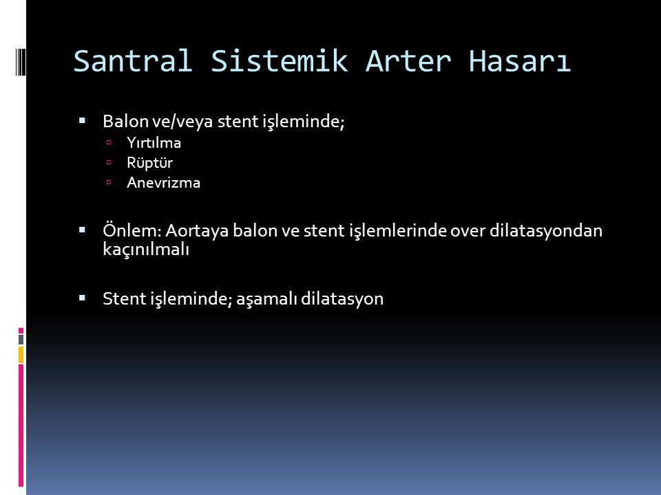 Santral Sistemik Arter Hasarı  Balon ve/veya stent işleminde;  Yırtılma  Rüptür  Anevrizma  Önlem: Aortaya balon ve stent işlemlerinde over dilatasyondan kaçınılmalı  Stent işleminde; aşamalı dilatasyon