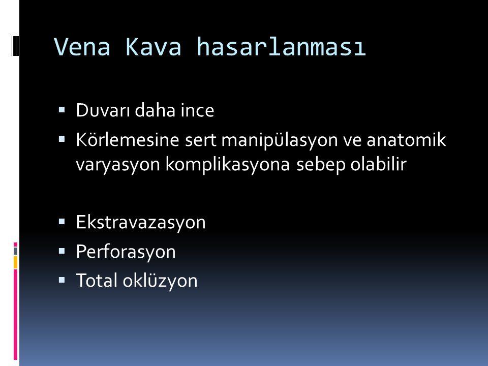 Vena Kava hasarlanması  Duvarı daha ince  Körlemesine sert manipülasyon ve anatomik varyasyon komplikasyona sebep olabilir  Ekstravazasyon  Perforasyon  Total oklüzyon