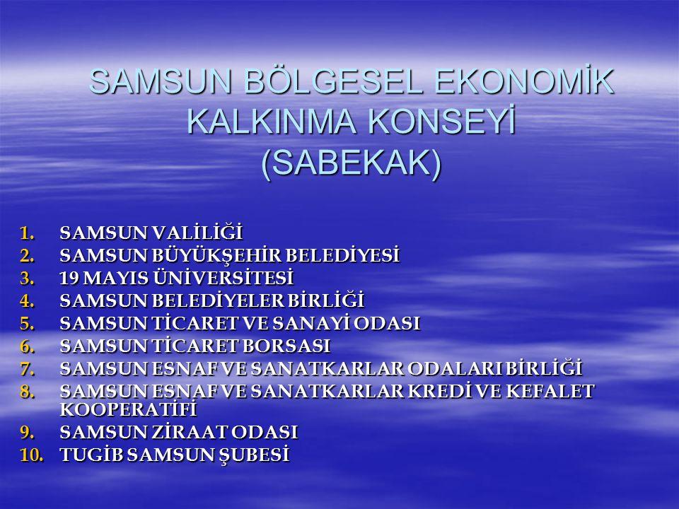 SAMSUN BÖLGESEL EKONOMİK KALKINMA KONSEYİ (SABEKAK) 1.SAMSUN VALİLİĞİ 2.SAMSUN BÜYÜKŞEHİR BELEDİYESİ 3.19 MAYIS ÜNİVERSİTESİ 4.SAMSUN BELEDİYELER BİRL