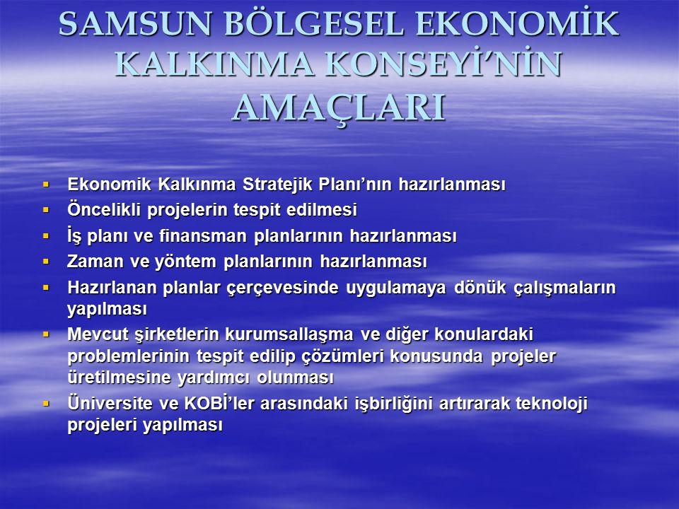 SAMSUN BÖLGESEL EKONOMİK KALKINMA KONSEYİ'NİN AMAÇLARI  Ekonomik Kalkınma Stratejik Planı'nın hazırlanması  Öncelikli projelerin tespit edilmesi  İ