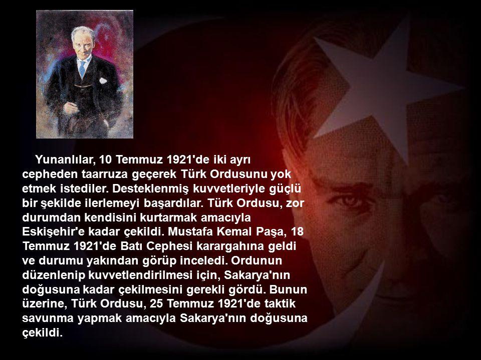 Türkiye Büyük Millet Meclisi orduları Sakarya nın doğusuna çekilmekle askeri bakımdan büyük bir avantaj elde etti.