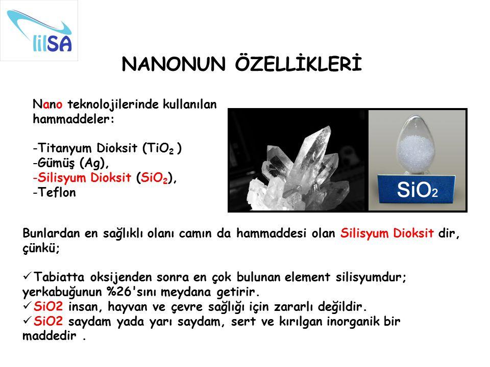 NANONUN ÖZELLİKLERİ Nano teknolojilerinde kullanılan hammaddeler: -Titanyum Dioksit (TiO 2 ) -Gümüş (Ag), -Silisyum Dioksit (SiO 2 ), -Teflon Bunlarda