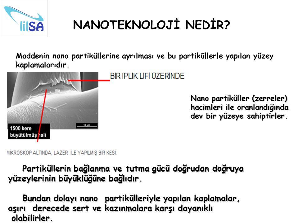 Maddenin nano partiküllerine ayrılması ve bu partiküllerle yapılan yüzey kaplamalarıdır. NANOTEKNOLOJİ NEDİR? Nano partiküller (zerreler) hacimleri il