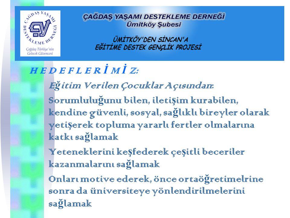 A M A C I M I Z: Sosoyal riski azaltmak amacıyla Ankara İ li Sincan İ lçesinde olanakları sınırlı ve dü ş ük gelir grubuna dahil ailelerin 6., 7.,8. s