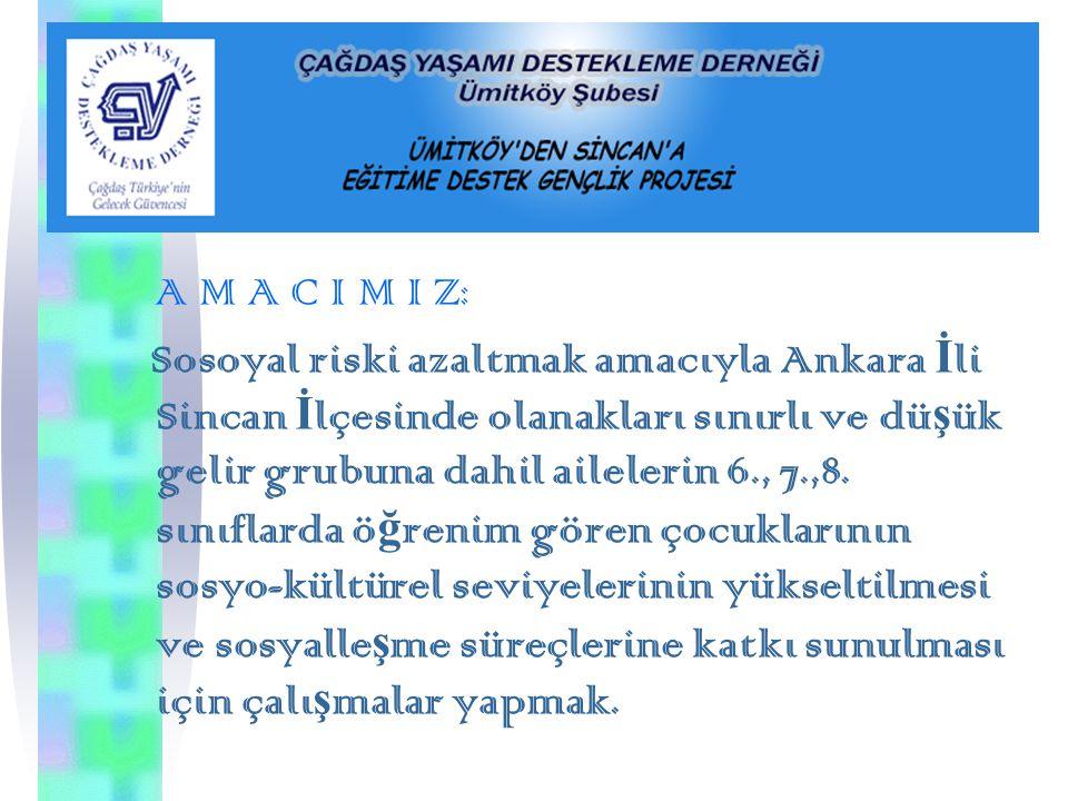 A M A C I M I Z: Sosoyal riski azaltmak amacıyla Ankara İ li Sincan İ lçesinde olanakları sınırlı ve dü ş ük gelir grubuna dahil ailelerin 6., 7.,8.