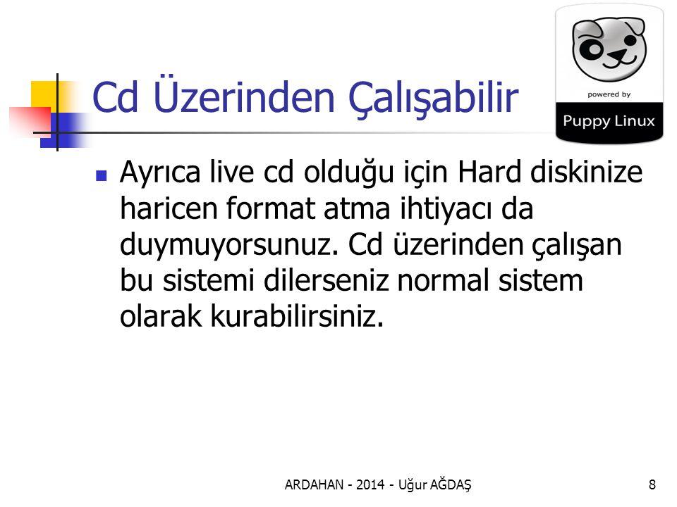 ARDAHAN - 2014 - Uğur AĞDAŞ8 Cd Üzerinden Çalışabilir Ayrıca live cd olduğu için Hard diskinize haricen format atma ihtiyacı da duymuyorsunuz.