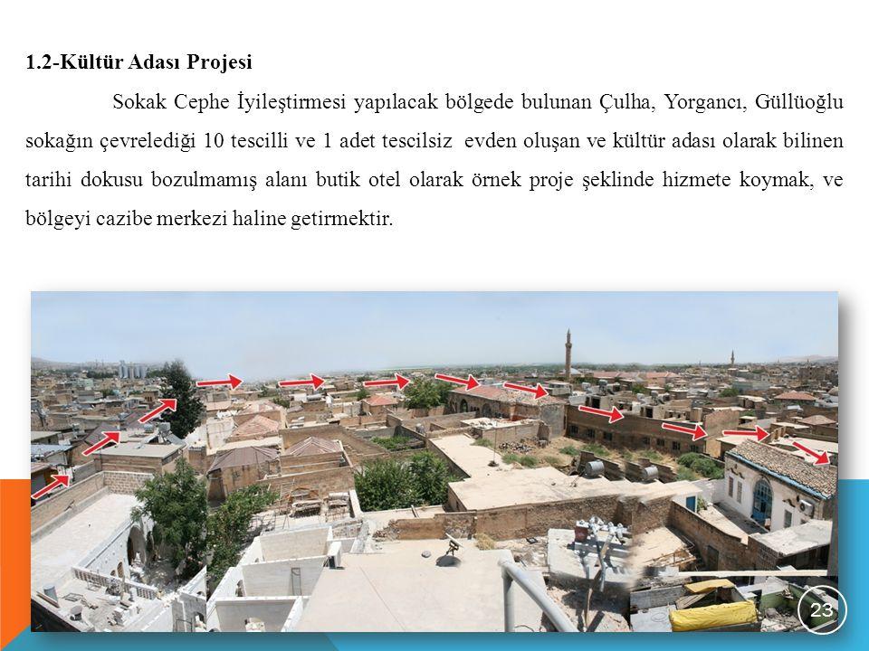 1.2-Kültür Adası Projesi Sokak Cephe İyileştirmesi yapılacak bölgede bulunan Çulha, Yorgancı, Güllüoğlu sokağın çevrelediği 10 tescilli ve 1 adet tesc