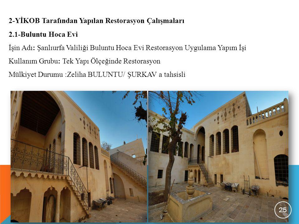 2-YİKOB Tarafından Yapılan Restorasyon Çalışmaları 2.1-Buluntu Hoca Evi İşin Adı: Şanlıurfa Valiliği Buluntu Hoca Evi Restorasyon Uygulama Yapım İşi K