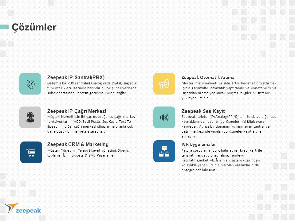 Çözümler Zeepeak IP Santral(PBX) Gelişmiş bir PBX santralin(Analog yada Dijital) sağladığı tüm özellikleri üzerinde barındırır. Çok şubeli yerlerde şu