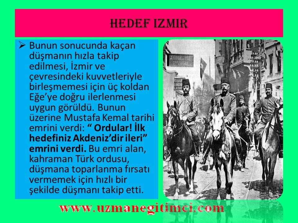 Ba ş komutanl ı k meydan muharebesi (30 a ğ ustos 1922)  Dahi bir komutan olan Mustafa Kemal'in yönettiği bu savaşta bir gün içinde Yunan ordusunun büyük bir bölümü yok edildi.