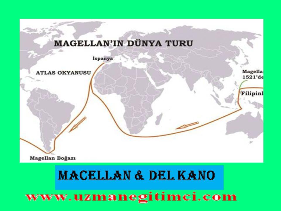 MACELLAN  Portekizli Macellan Atlas Okyanusuna açılarak Amerika'nın güneyine ulaştı. Kendi adını verdiği boğazı aşarak Büyük Okyanusa geçti. Filipin