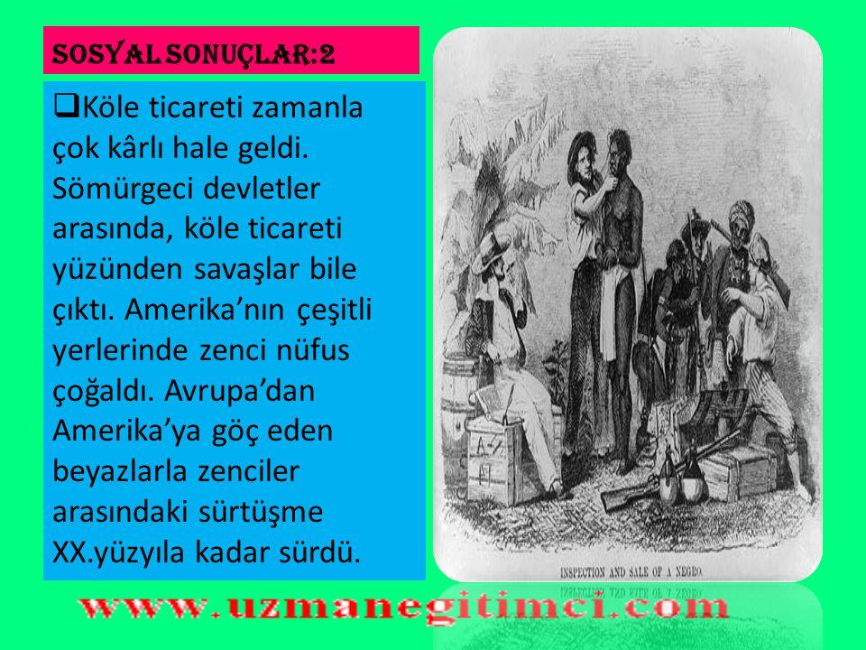 SOSYAL SONUÇLAR:2  İspanyollar ve Portekizliler, bunları kitle halinde öldürdüler. Kalanları köle yaptılar. Ancak, nüfusun az olması sebebiyle, Afrik