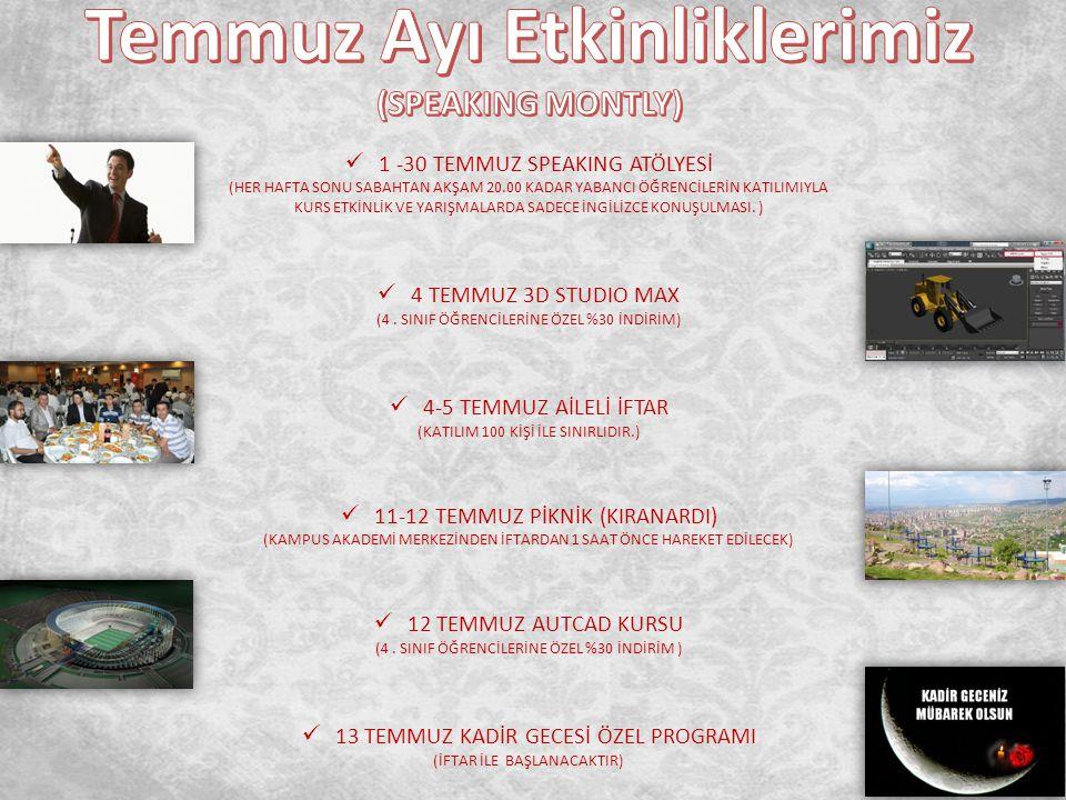1-2-3 AĞUSTOS PES TURNUVASI (ÖDÜLLER 1.YE 50 TL HEDİYE ÇEKİ) 1-2 AĞUSTOS AKADEMİK GEZİ (ANKARA) (MÜHENDİSLİK FAKÜLTESİNE YÖNELİK.ASELSAN, TÜBİTAK) 7-8-9 AĞUSTOS MASA TENİSİ (ÖDÜLLER 1.YE 50 TL HEDİYE ÇEKİ) 8-9 AĞUSTOS AKADEMİK GEZİ (ANKARA) (İİBF VE HUKU ÖĞRENCİLERİNE TBMM GEZİSİ) 15-16 AĞUSTOS LAZER GAME (ANADOLU HARİKALAR DİYARI) (SAAT 12:00 KAMPUS AKADEMİDEN OTOBÜSLER HAREKET EDECEKTİR) 21-22-23 AĞUSTOS TRABZON GEZİSİ (HER GEZİ 45 KİŞİLİKTİR) 15 AĞUSTOS MUFİYET KURSU (13 EYLÜL BİTİŞ TARİHİ )