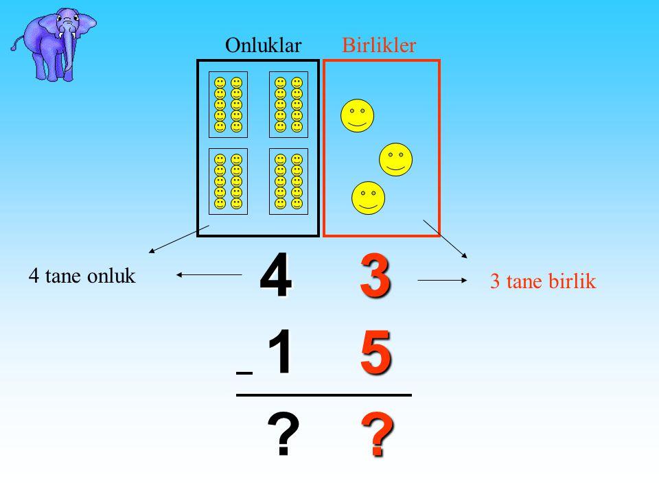 Şimdi de onluk bozarak çıkarma işlemini öğrenelim. 43 51 ? ? 3'ten 5 çıkmaz. Şimdi ne yapacağız?