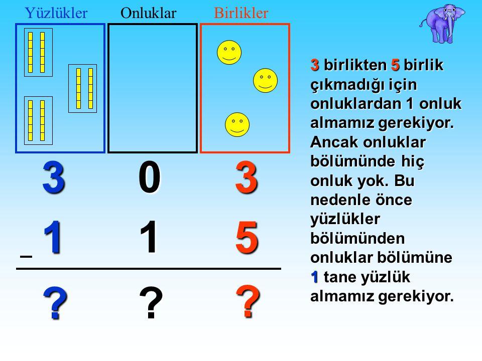 Şimdi de 3 basamaklı doğal sayılarda onluk bozarak çıkarma işlemini öğrenelim. 03 51 ? ? 3'ten 5 çıkmaz; 0'dan da 1 çıkmaz. Şimdi ne yapacağız? 3 1 ?