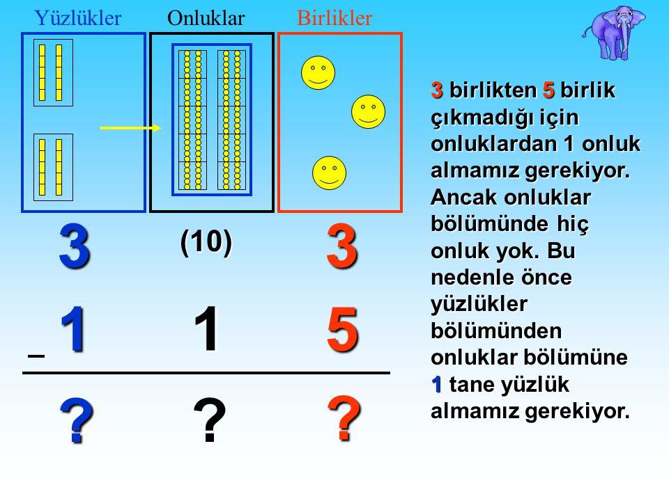 03 51 ? ? 3 1 ? YüzlüklerOnluklarBirlikler 3birlikten 5birlik çıkmadığı için onluklardan 1 onluk almamız gerekiyor. Ancak onluklar bölümünde hiç onluk