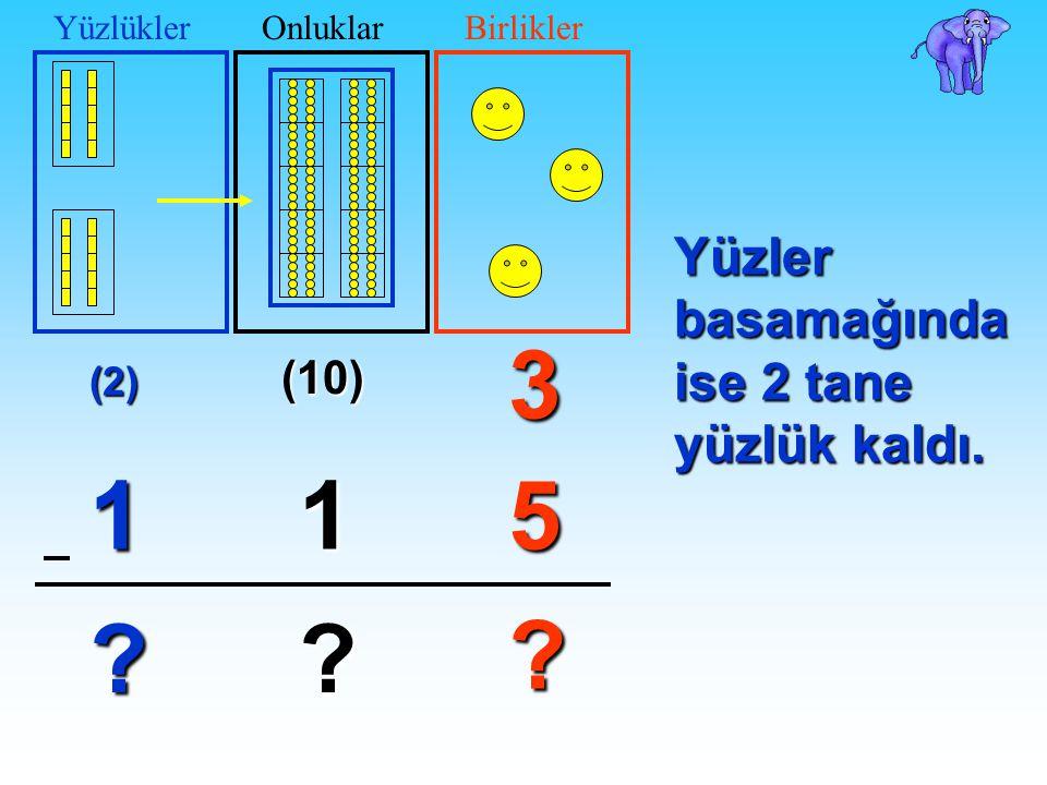 (10) 3 51 ? ? 3 1 ? YüzlüklerOnluklarBirliklerŞimdi onlar basamağında 1 tane yüzlük (yani 10 tane onluk) oldu.