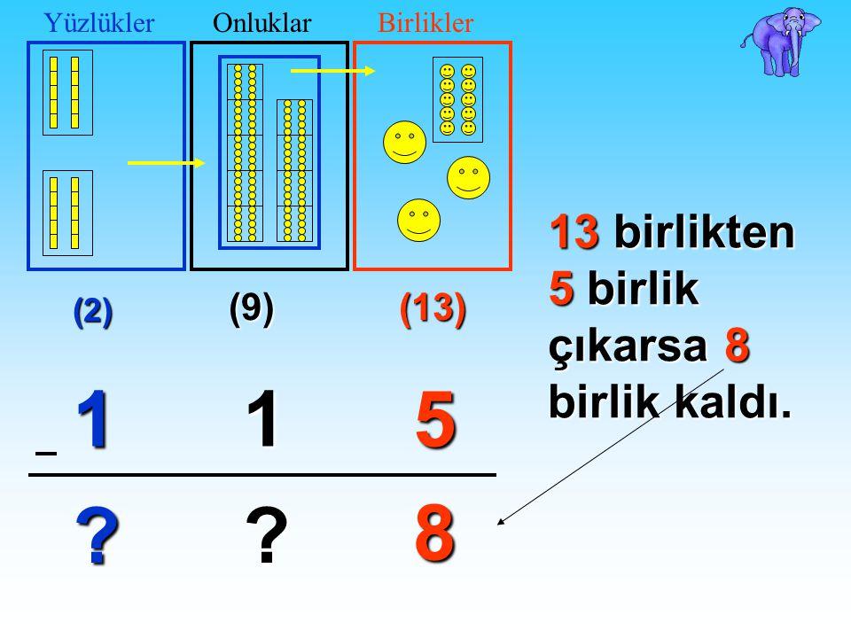 (9) (13) 51 ? ? (2) 1 ? YüzlüklerOnluklarBirliklerOnlar basamağından 1 onluğu birler basamağına aldık. Şimdi birler basamağında 13 birlik oldu.