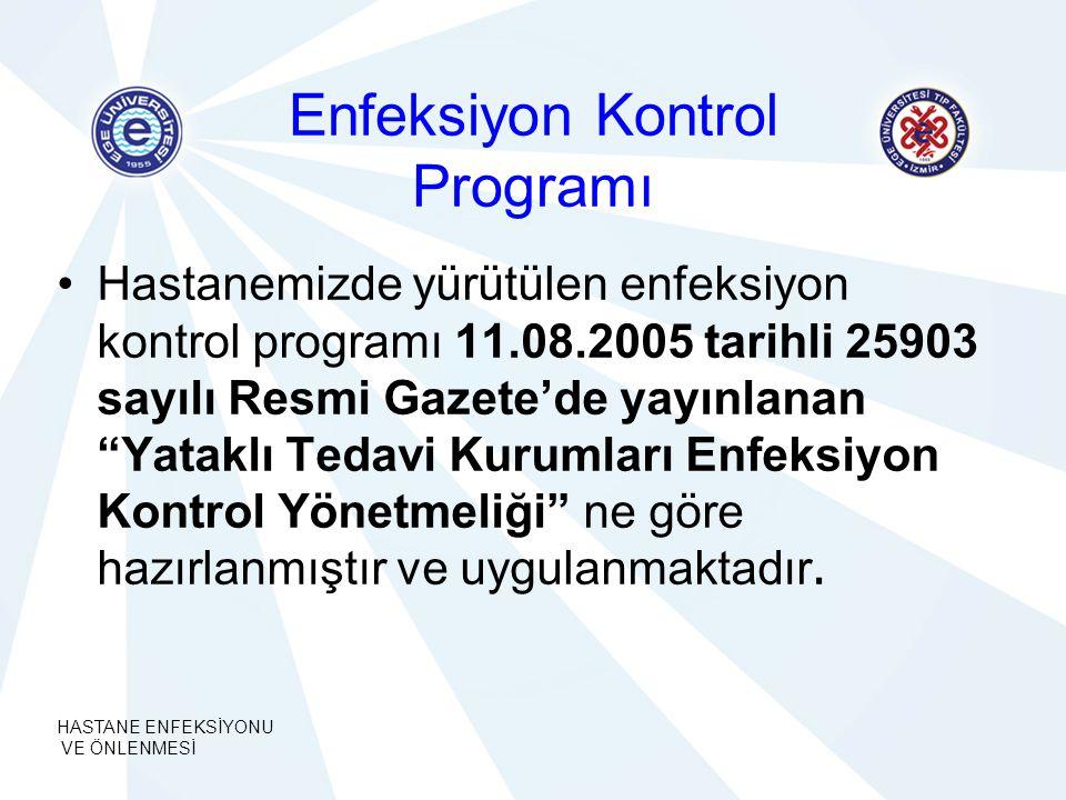 HASTANE ENFEKSİYONU VE ÖNLENMESİ Enfeksiyon Kontrol Programı Hastanemizde yürütülen enfeksiyon kontrol programı 11.08.2005 tarihli 25903 sayılı Resmi