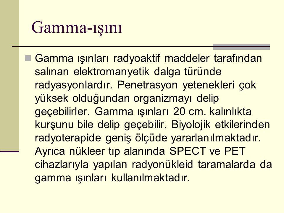 Gamma-ışını Gamma ışınları radyoaktif maddeler tarafından salınan elektromanyetik dalga türünde radyasyonlardır. Penetrasyon yetenekleri çok yüksek ol