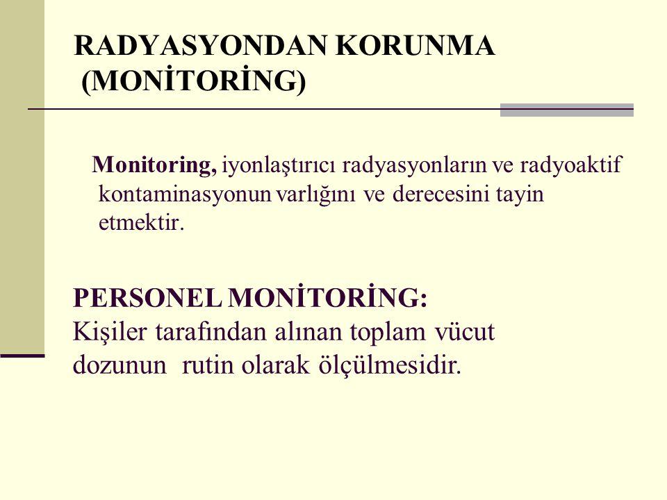RADYASYONDAN KORUNMA (MONİTORİNG) Monitoring, iyonlaştırıcı radyasyonların ve radyoaktif kontaminasyonun varlığını ve derecesini tayin etmektir. PERSO