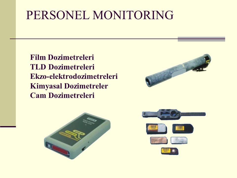PERSONEL MONITORING Film Dozimetreleri TLD Dozimetreleri Ekzo-elektrodozimetreleri Kimyasal Dozimetreler Cam Dozimetreleri
