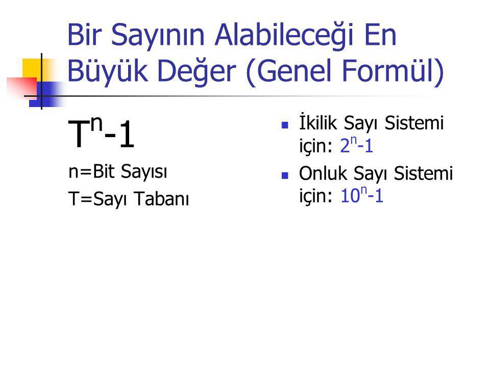 Bir Sayının Alabileceği En Büyük Değer (Genel Formül) T n -1 n=Bit Sayısı T=Sayı Tabanı İkilik Sayı Sistemi için: 2 n -1 Onluk Sayı Sistemi için: 10 n -1