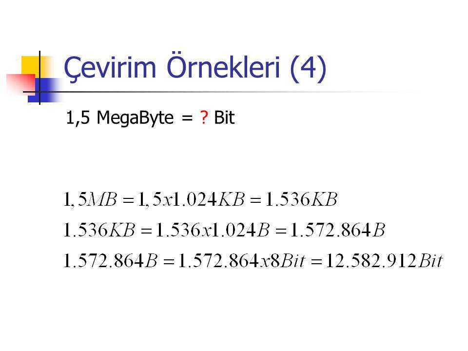 Çevirim Örnekleri (4) 1,5 MegaByte = Bit