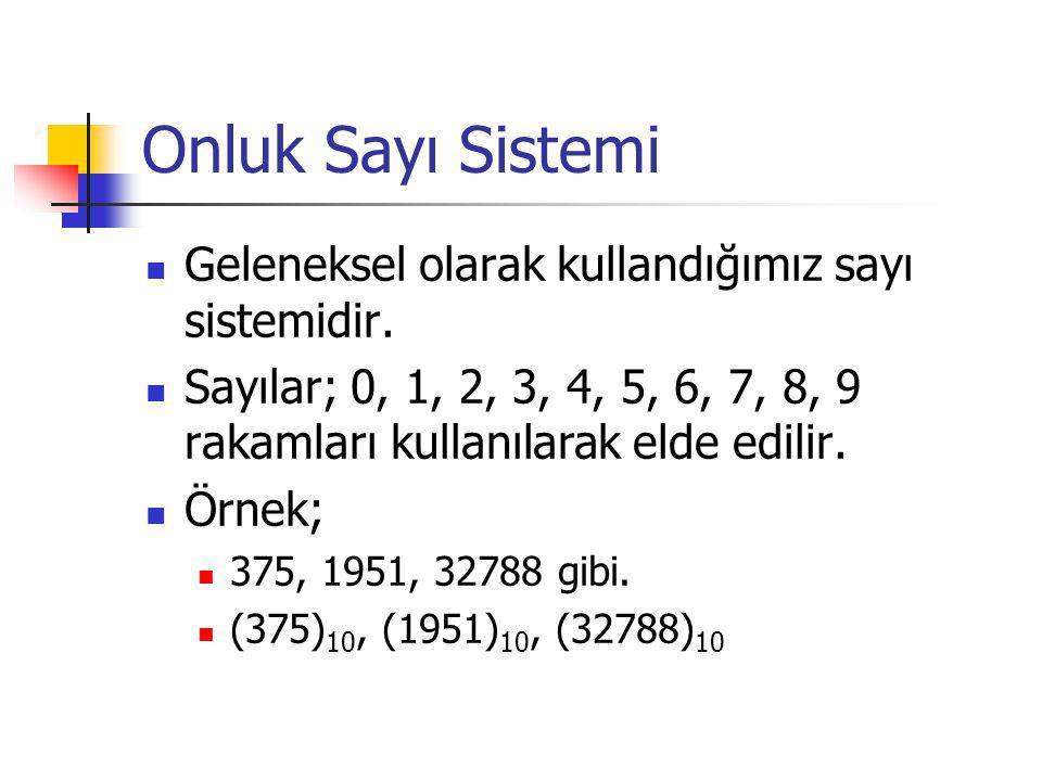 Onluk Sayı Sistemi Geleneksel olarak kullandığımız sayı sistemidir.