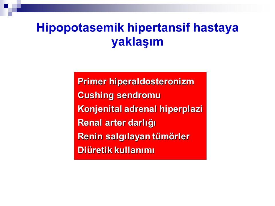 Hipopotasemik hipertansif hastaya yaklaşım Primer hiperaldosteronizm Cushing sendromu Konjenital adrenal hiperplazi Renal arter darlığı Renin salgılay