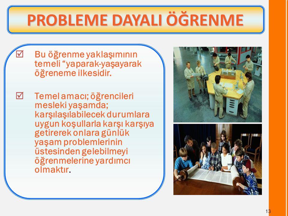"""13 PROBLEME DAYALI ÖĞRENME PROBLEME DAYALI ÖĞRENME  Bu öğrenme yaklaşımının temeli """"yaparak-yaşayarak öğreneme ilkesidir.  Temel amacı; öğrencileri"""