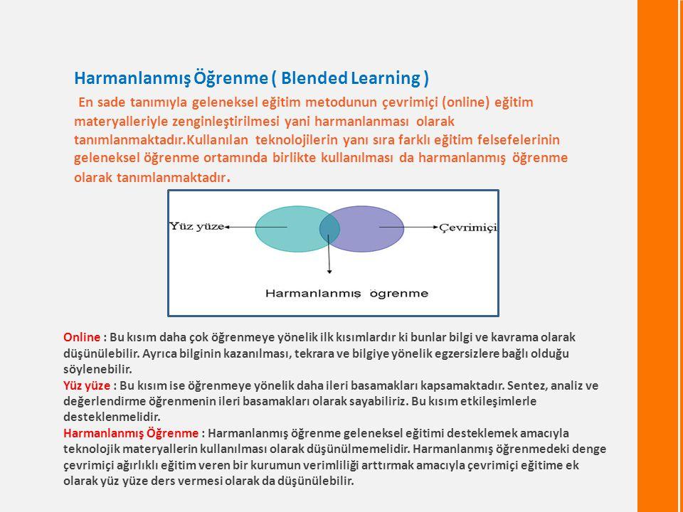 Online : Bu kısım daha çok öğrenmeye yönelik ilk kısımlardır ki bunlar bilgi ve kavrama olarak düşünülebilir. Ayrıca bilginin kazanılması, tekrara ve