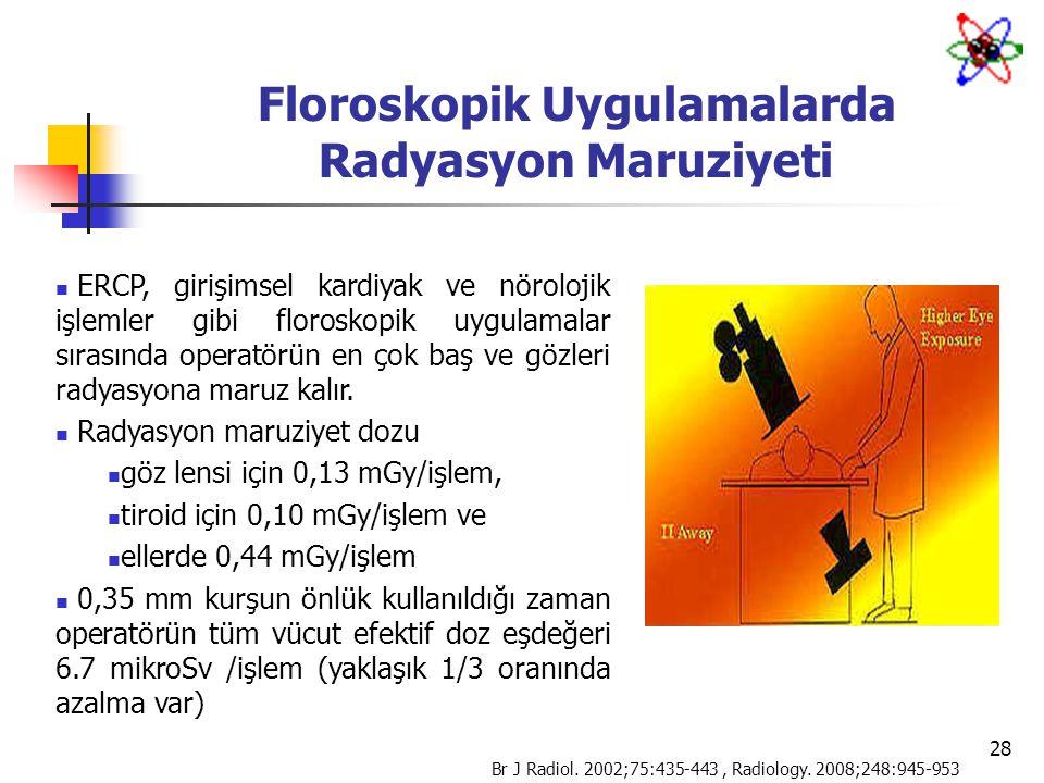 28 Floroskopik Uygulamalarda Radyasyon Maruziyeti ERCP, girişimsel kardiyak ve nörolojik işlemler gibi floroskopik uygulamalar sırasında operatörün en