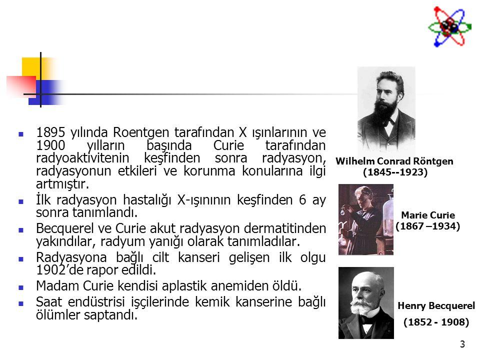 3 1895 yılında Roentgen tarafından X ışınlarının ve 1900 yılların başında Curie tarafından radyoaktivitenin keşfinden sonra radyasyon, radyasyonun etk