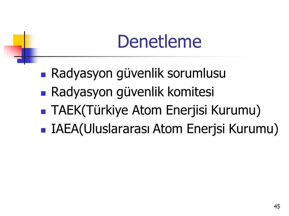 45 Denetleme Radyasyon güvenlik sorumlusu Radyasyon güvenlik komitesi TAEK(Türkiye Atom Enerjisi Kurumu) IAEA(Uluslararası Atom Enerjsi Kurumu)