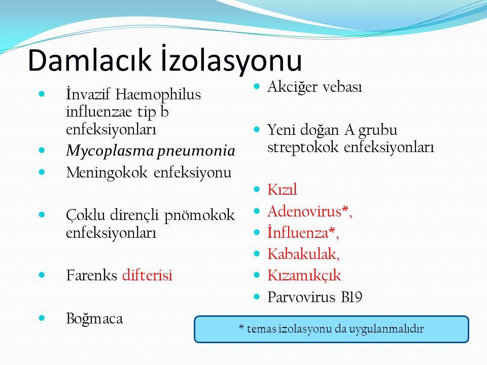 Damlacık İzolasyonu İ nvazif Haemophilus influenzae tip b enfeksiyonları Mycoplasma pneumonia Meningokok enfeksiyonu Çoklu dirençli pnömokok enfeksiyo