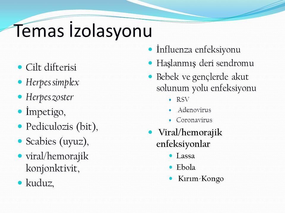 Temas İzolasyonu Cilt difterisi Herpes simplex Herpes zoster İ mpetigo, Pediculozis (bit), Scabies (uyuz), viral/hemorajik konjonktivit, kuduz, İ nflu