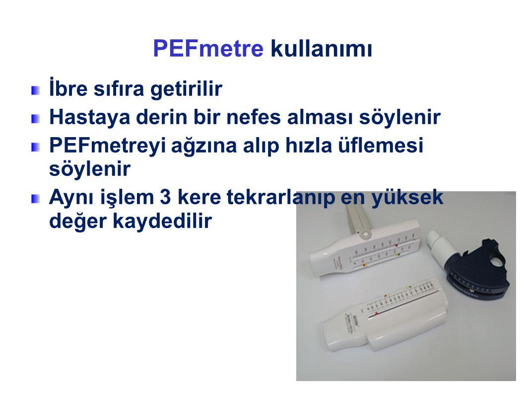 PEFmetre kullanımı İbre sıfıra getirilir Hastaya derin bir nefes alması söylenir PEFmetreyi ağzına alıp hızla üflemesi söylenir Aynı işlem 3 kere tekr