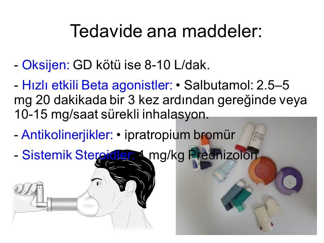 Tedavide ana maddeler: - Oksijen: GD kötü ise 8-10 L/dak. - Hızlı etkili Beta agonistler: Salbutamol: 2.5–5 mg 20 dakikada bir 3 kez ardından gereğind
