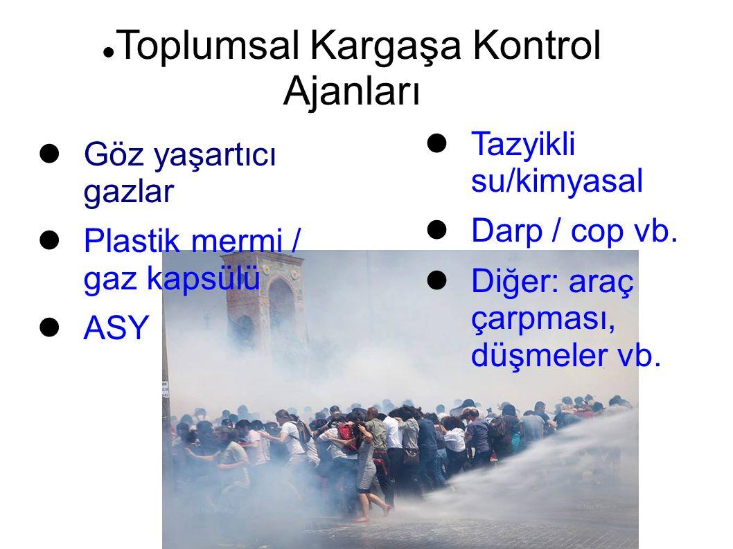 Toplumsal Kargaşa Kontrol Ajanları Göz yaşartıcı gazlar Plastik mermi / gaz kapsülü ASY Tazyikli su/kimyasal Darp / cop vb. Diğer: araç çarpması, düşm