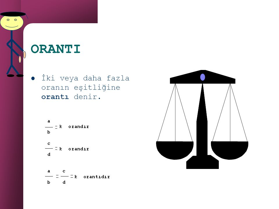 ORAN Aynı birimle ölçülen iki çokluğun karşılaştırılma işlemine (birbirlerine bölümüne) oran denir. Örnek:Can'ın boyu 120cm, Cem'in boyu 140cm dir. Bo
