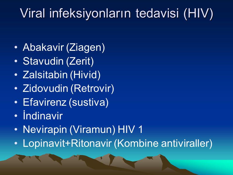 Viral infeksiyonların tedavisi (HIV) Abakavir (Ziagen) Stavudin (Zerit) Zalsitabin (Hivid) Zidovudin (Retrovir) Efavirenz (sustiva) İndinavir Nevirapi