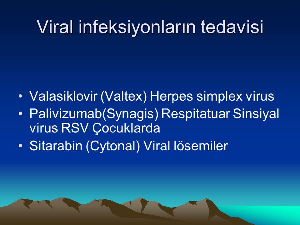 Viral infeksiyonların tedavisi Valasiklovir (Valtex) Herpes simplex virus Palivizumab(Synagis) Respitatuar Sinsiyal virus RSV Çocuklarda Sitarabin (Cy
