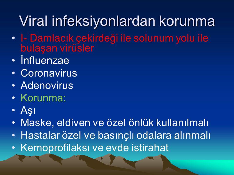 Viral infeksiyonlardan korunma I- Damlacık çekirdeği ile solunum yolu ile bulaşan virüsler İnfluenzae Coronavirus Adenovirus Korunma: Aşı Maske, eldiv